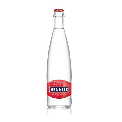 Bouteille d'eau HENNIEZ pétillante 50cl en verre